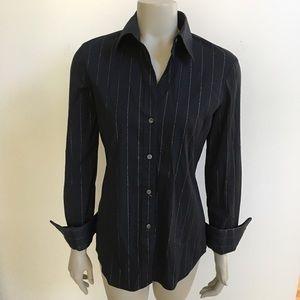 Theory glitter stripe button down blouse